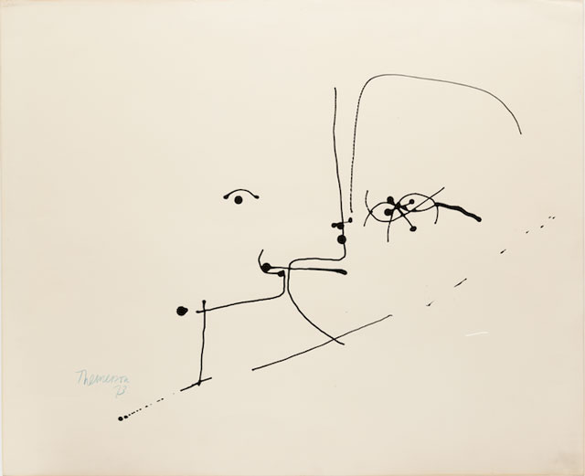 Franciszka Themerson. Two Heads, 1973. Ink on paper, 50 x 62 cm.