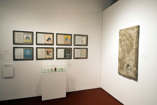 Installation View: Thinking Pictures: Moscow Conceptual Art at the Dodge Collection at the Zimmerli Art Museum at Rutgers. Includes: Inspection Medical Hermeneutics, Untitled Collages, 1980s and Andrei Roiter, Monologue, undated painting. Photograph: Peter Jacobs.