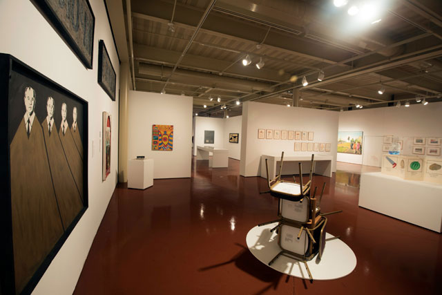 Installation View: Thinking Pictures: Moscow Conceptual Art at the Dodge Collection at the Zimmerli Art Museum at Rutgers. Includes: Viktor Skersis' One and Three Chairs (Reconstruction), 1979/2016, Constantin Latyshev's painting Gorbachev's Brothers, 1988, and others.  Photo Credit: Peter Jacobs.