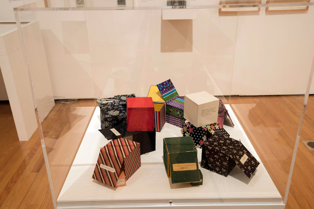 Rimma Gerlovina. Selection from the series Cube-Poems, mid-1970s. Sculpture. Installation View: Thinking Pictures: Moscow Conceptual Art at the Dodge Collection at the Zimmerli Art Museum at Rutgers. Photograph: Peter Jacobs.