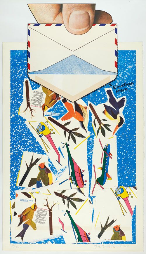 Joe Tilson. Sky Two, 1967. Screenprint on J Green paper with torn paper elements, 124.0 x 69.0 cm/48¾ x 27¼ in. Edition of 70.