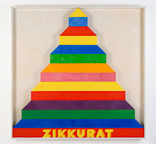 Joe Tilson. Zikkurat 3, 1967. Oil and acrylic on wood relief, 216 x 216 cm/85 x 85 in.