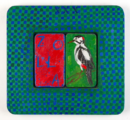 Joe Tilson. Conjunction Great Spotted Woodpecker, Zola, 1999. Oil on canvas on wood panel, acrylic on canvas on wood relief, 64 x 69cm/25¼ x 27 1/8 in.