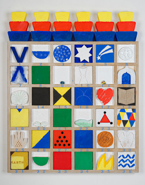 Joe Tilson. Finestra Veneziana Fondamenta Zattere-al Ponte Lungo, 2009. Acrylic, glass and Lattimo glass on wood relief, 132 x 107.5 cm/52 x 42 3/8 in.