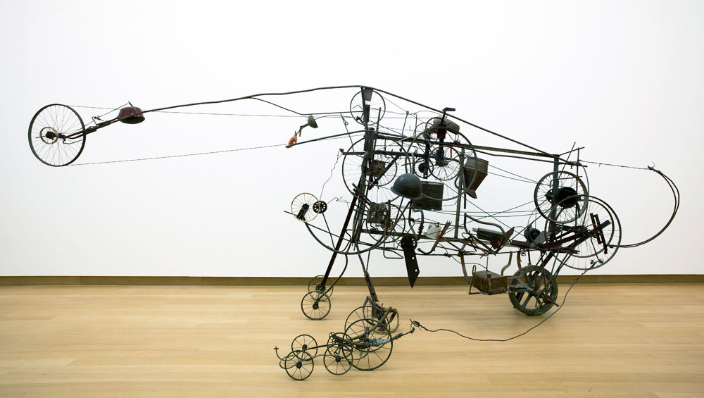 From kinetic sculptures to 'do-it-yourself machines' and scorched animal skulls to self-destructing golden phalluses, Tinguely courted controversy and spun spectacle throughout his life. Here, the artist who fought against being 'museumised' is subjected to, well, just that