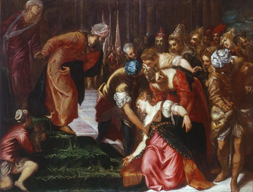 Jacopo Tintoretto. <em>Esther before Anhasuerus, </em>c.1546–1547. Oil on canvas, 207.7 cm x 275.5 cm. Royal Collection © 2007, HM Queen Elizabeth II.