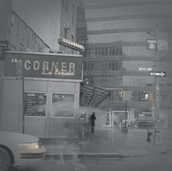Alexey Titarenko. Corner La Esquina, New York, 2013. Gelatin silver print, printed by the artist, edition 1/5, 12 x 12 in (30.5 x 30.5 cm).