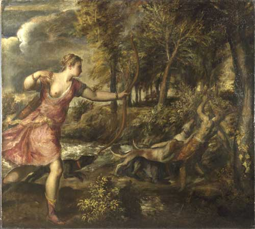 <i>The Death of Actaeon</i>, about 1565-76. Oil on canvas, 178.8 x 197.8 