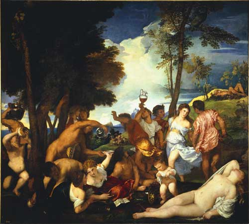 <i>The Andrians</i>, about 1523-25. Oil on canvas, 175 x 193 cm. Museo 