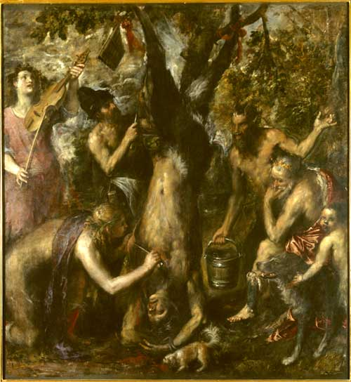 <i>The Flaying of Marsyas</i>, 1570-76. Oil on canvas, 212 x 207 cm © 