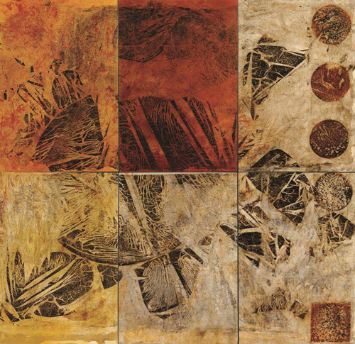 Canan Tolon. Untitled (polyptych), 2001. Rust and pigment on canvas, 267 x 274 cm (105 x 108 in). Collection Pınar and Hakan Ertaç. Photograph: Hakan Aydog an.
