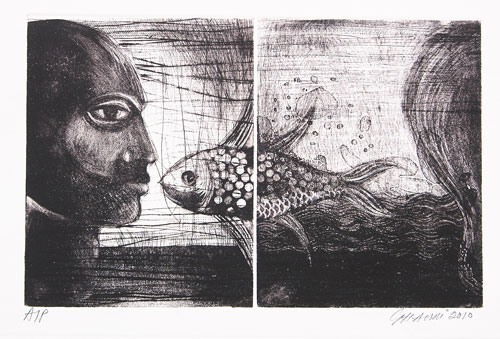 Ussman Ghouri. Etching and aquatint on paper, 15 x 10 in.