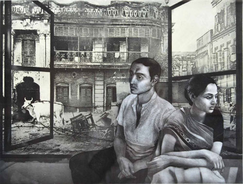 Anupam Sud. Dialogue, 1984. Etching on paper, 49 x 64 cm.