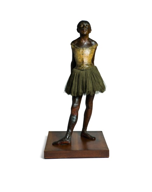 Edgar Degas. Petite danseuse de quatorze ans (Little dancer aged fourteen), cast 1922 from a mixed-media sculpture c1879-81. Bronze with brown patina, muslin skirt, satin hair ribbon, and wooden base. 38 1/2 x 16 1/2 x 19 3/4 in (97.8 x 41.9 x 50.2 cm). Wexner Family Collection.