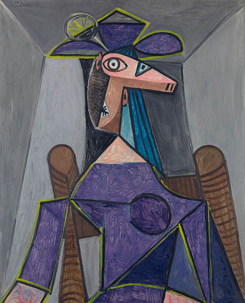 Pablo Picasso. Portrait de femme (Dora Maar), 1942. Oil on panel, 39 1/8 x 31 3/4 in (99.3 x 80.6 cm). Wexner Family Collection © 2014 Estate of Pablo Picasso / Artists Rights Society. (ARS), New York.