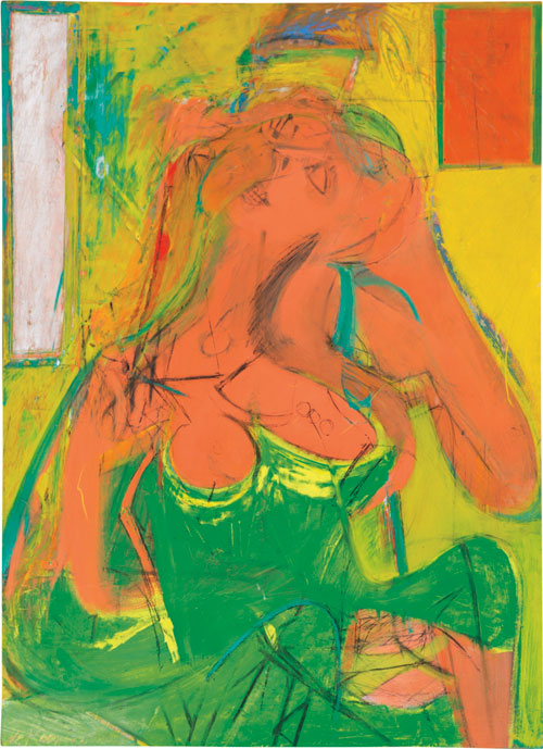 Willem de Kooning. Pink Lady, c1944. Oil and charcoal on panel, 48 1/4 x 35 1/4 in (122.6 x 89.5 cm). Wexner Family Collection © 2014 The Willem de Kooning Foundation / Artists. Rights Society (ARS), New York.