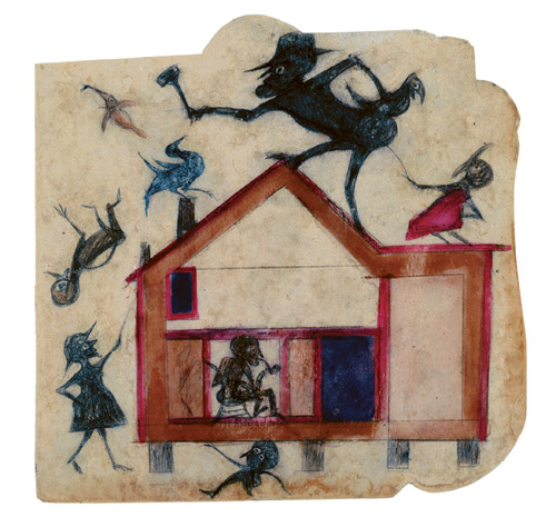 Bill Traylor. Untitled (Exciting Event: House with Figures), Montgomery, Alabama, c1939-1947. Poster paint and pencil on cardboard, 13 1/2 x 13 7/8 in. High Museum of Art, Atlanta, Georgia, T. Marshall Hahn Collection. Photograph: Mike Jensen.