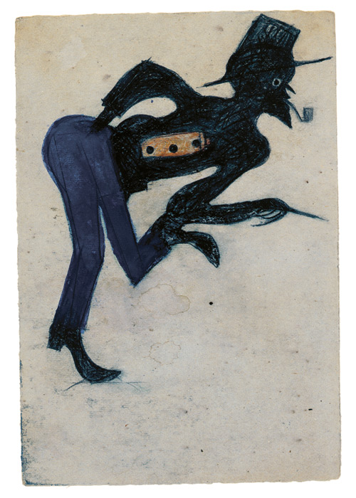 Bill Traylor. Untitled (Man in Blue Pants), Montgomery, Alabama, c1939-1947. Poster paint, pencil, colored pencil, and charcoal on cardboard, 10 5/8 x 7 1/4 in. High Museum of Art, Atlanta, Georgia, T. Marshall Hahn Collection. Photograph: Mike Jensen.