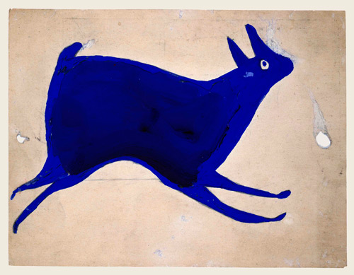 Bill Traylor. Untitled (Blue Rabbit Running), Montgomery 1939–1942. Poster paint and pencil on cardboard, 9 x 11 7/8 in. Louis-Dreyfus Family Collection.