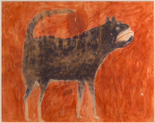 Bill Traylor. Untitled (Dog on Red Background), Montgomery, 1939–1942. Poster paint and pencil on cardboard, 21 1/2