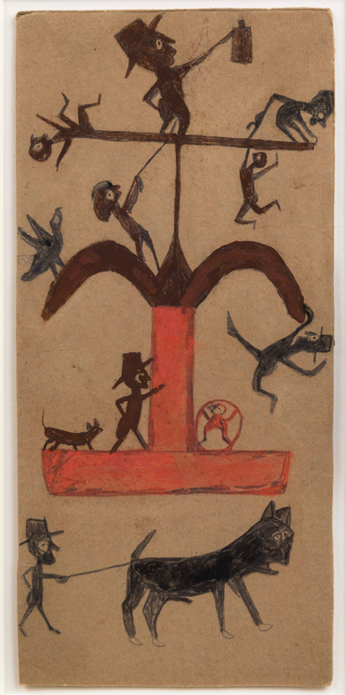 Bill Traylor. Untitled (Figure: Construction, Black, Brown, Red), Montgomery, 1940–1942. Pencil and poster paint on cardboard, 15 1/8 x 7 1/4 in. Collection of Audrey Heckler. Photograph: Adam Reich.