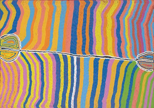 Judy NAPANGARDI WATSON, Warlpiri born c. 1925. 'Mina Mina' 2004. Synthetic 