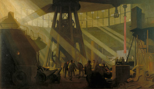 George Clausen. In the Gun Factory at Woolwich Arsenal, 1918. Oil on canvas. © IWM.