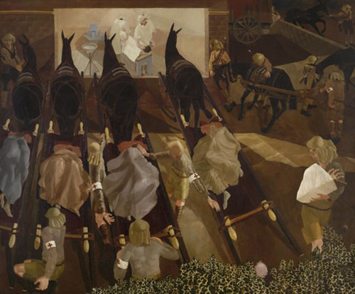 Stanley Spencer. Travoys Arriving with Wounded at a Dressing-Station at Smol, Macedonia, September 1916 (1919). Oil on canvas. © IWM.