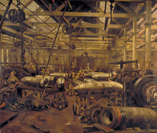 Anna Airy. Shop for Machining 15-inch Shells: Singer Manufacturing Company, Clydebank, Glasgow, 1918. Oil on canvas. © IWM.