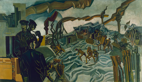 Percy Wyndham Lewis. A Battery Shelled, 1919. Oil on canvas. © IWM.