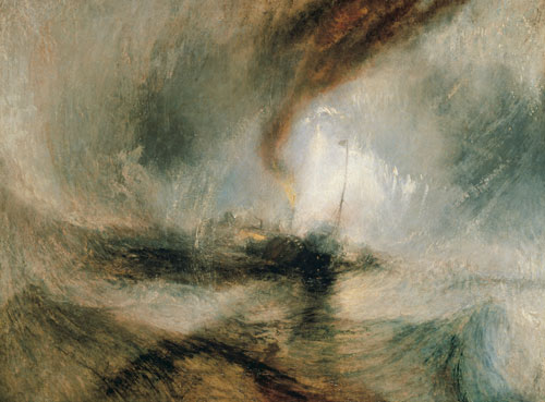 JMW Turner. Snow Storm – Steam-boat off a Harbour's Mouth, 1842. Oil on canvas. © Tate.