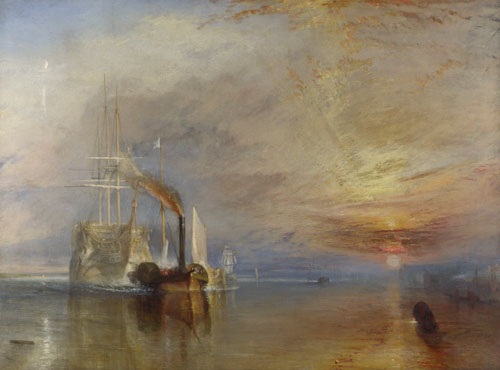 JMW Turner. The Fighting Temeraire, tugged to her last Berth to be broken up 1838, (1839). Oil on canvas. © The National Gallery, London.