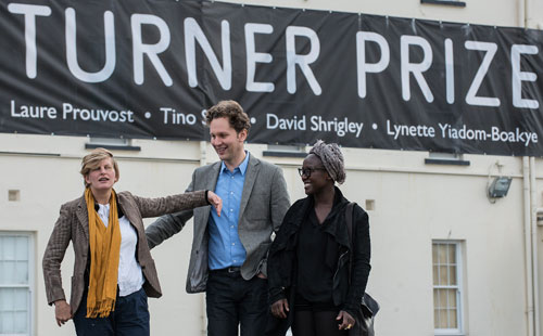 Finalists Laure Prouvost, David Shrigley and Lynette Yadom-Boakyke at the opening of the Turner Prize gallery at Ebrington, Derry-Londonderry.