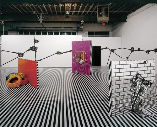 Jim Lambie. Installation view, <em>Mental Oyster,</em> Anton Kern Gallery New York, 2004. Courtesy of The Artist, The Modern Institute, Glasgow, Anton Kern Gallery, New York, Sadie Coles, London.