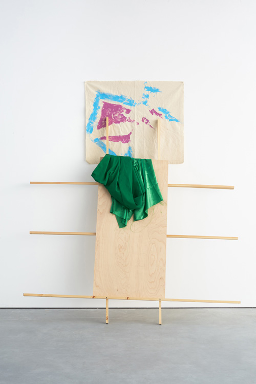 Richard Tuttle. Separation (Group 4, Number 2), 2015. Canvas, acrylic, pushpins, cotton, satin, birch panel, pine 1x2's graphite, 212.7 x 183.5 x 56.5 cm (83 3/4 x 72 1/4 x 22 1/4 in).