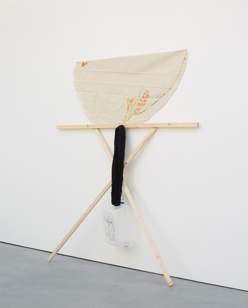 Richard Tuttle. Separation (Group 4, Number 3), 2015. Canvas, pushpins, marker, acrylic, sharpie, graphite, nails, wool yarn, plastic box, nails, pine 1x2's, 207.6 x 183.5 x 46.4 cm (81 3/4 x 72 1/4 x 18 1/4 in).