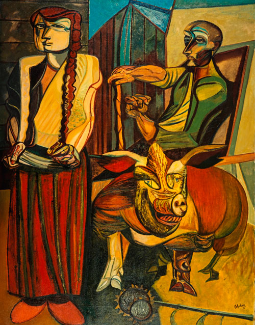 Robert Colquhoun. Figures in a Farmyard, 1953. Oil on canvas, 185.4 x 143.5 cm. Collection: Scottish National Gallery of Modern Art.