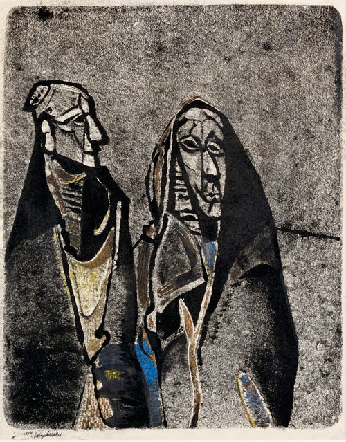 Robert Colquhoun. Two Irish Women, 1946. Colour monotype on paper, 52 x 42 cm. Private collection