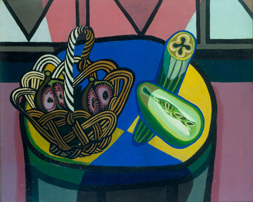 Robert MacBryde. Still Life with Basket, 1948. Oil on canvas, 49.5 x 60.5 cm. British Council Collection.