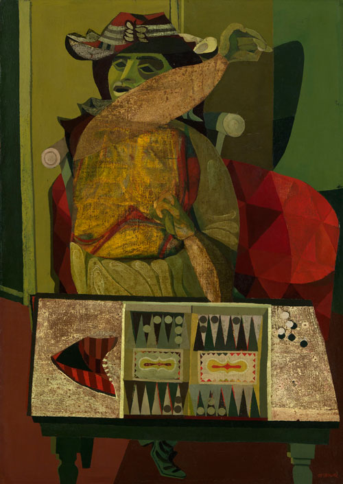 Robert MacBryde. The Woman and the Trictrac Game, c1945-6. Oil on canvas, 106.7 x 76.2 cm. Collection: Glasgow Life (Glasgow Museums) on behalf of Glasgow City Council.