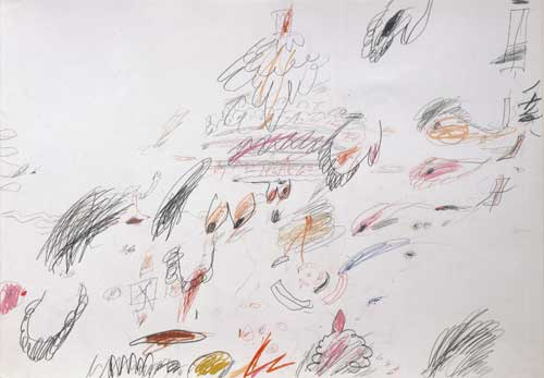 Cy Twombly. Untitled, 1961/63. Pencil, colour pencil, ballpoint pen on paper, 50 x 71 cm. © Cy Twombly Foundation / Courtesy Cy Twombly Foundation.