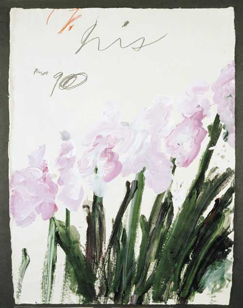 Cy Twombly, Nicola's Iris, 1990. Acrylic, pencil and wax crayon on paper, 75.5 x 56 cm (29 3/4 x 22 inches.