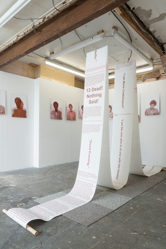 Rosa Johan Uddoh: Studies for Impartiality. Installation view, Jupiter Woods, London 2019.