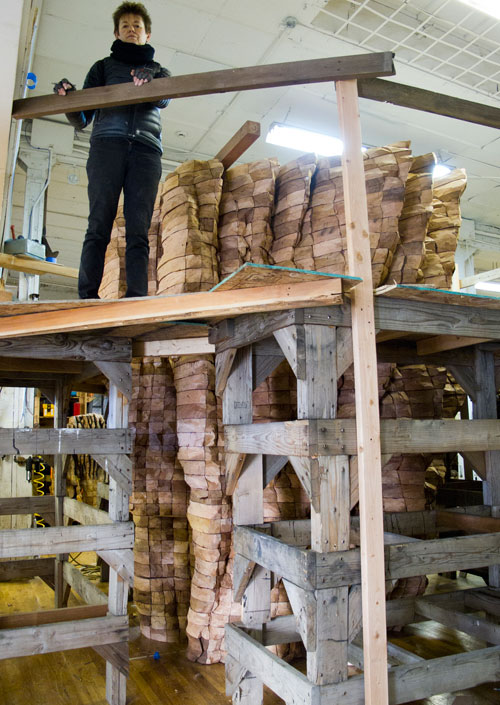 Ursula von Rydingsvard in her studio with work in progress, 2013. Photograph: Andria Morales. © Ursula von Rydingsvard. Courtesy Galerie Lelong, New York.