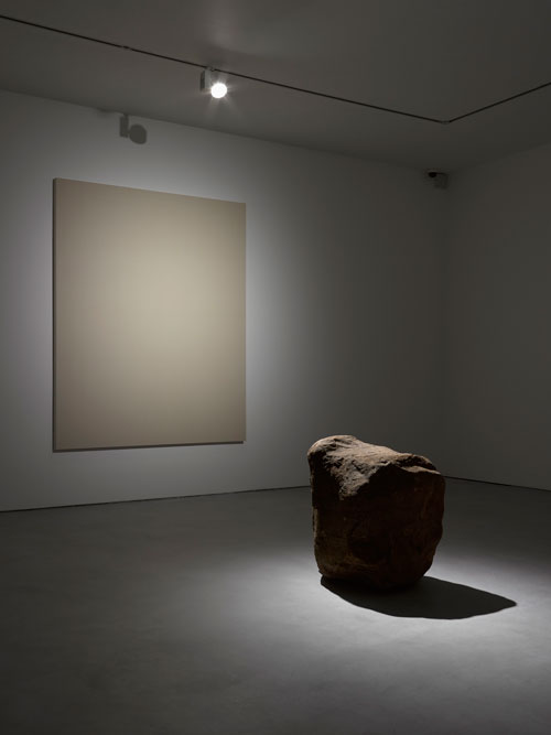 Lee Ufan. Dialogue - Silence, 2013. Virgin canvas, stone. Canvas 227 x 182 x 6cm; Stone 70 x 70 x 70cm. Courtesy the artist and Lisson Gallery. Photograph: Jack Hems.