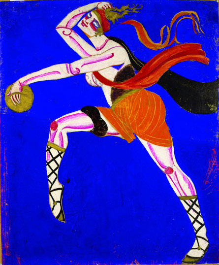 Alexandra Exter. Innokentii Annensky, Famira Kifared, Chamber Theatre, Moscow, Dir. O. Tairov, 1916. Costume sketch, Bacchante,
