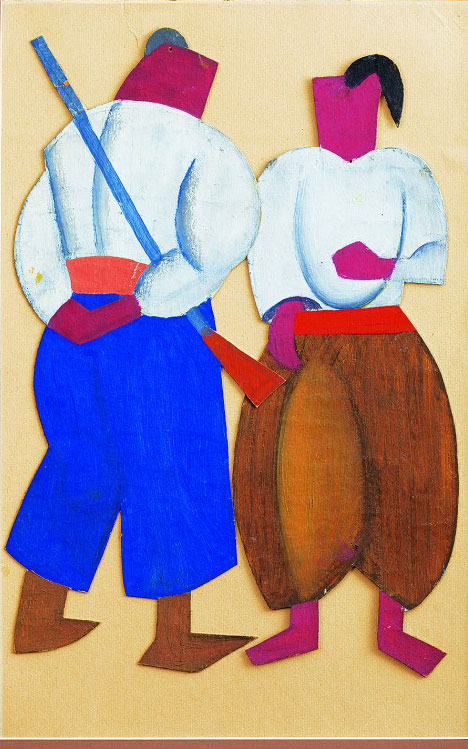 Kost (Kostiantyn) Yeleva, Ivan Haliun. The Rapids Pound, Ivan Franko Theatre, Kyiv, Dir. Ye. Kokhanenko, 1927. Sketches of costumes, applique and oil on cardboard, 16 x 13 in (42 x 33 cm).