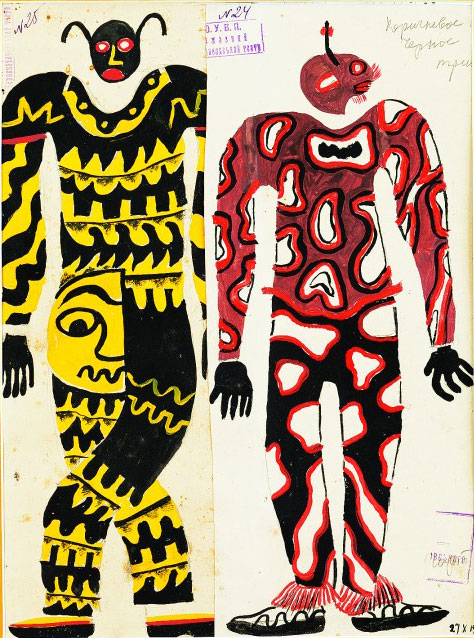 Borys Kosarev, Ivan Kocherha. Marko in Hell, State Red Factory Theatre, Kharkiv, Dir. V. Vasylko, 1928. Costume sketches, Two Devils, gouache on paper, 15 x 12 in (39.5 x 31 cm).