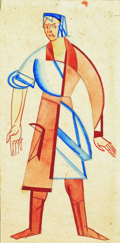 Vadym Meller, Georg Kaiser. Gas, Berezil Artistic Association, Kyiv, Dir. L. Kurbas, 1923. Costume sketch, Female Worker, watercolour on paper, 17⅜ x 8⅝ in (44 x 22 cm).