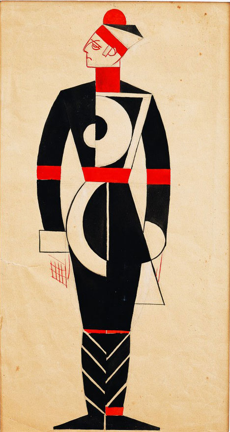 Vadym Meller, Georg Kaiser. Gas, Berezil Artistic Association, Kyiv, Dir. L. Kurbas, 1923. Costume sketch, Officer, gouache, watercolour and India ink on cardboard, 17⅛ x 9 in (43.5 x 23 cm).